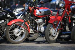Czech motorcycles Jawa on a sunny day. Closeup stock images