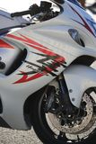 Motorcycle Suzuki GSX1300R Hayabusa closeup. Right side view royalty free stock image