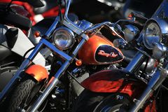 Motorcycle Yamaha Drag Star 400 closeup. Front and left view stock photography