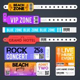 Event entrance vector bracelets and stadium zone admission tickets templates isolated. Bracelet for entry and admit to show concert illustration Royalty Free Stock Image