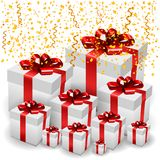 3D Present Boxes with Golden Confetti. Vector Illustration stock illustration