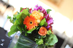 Event Flowers. A beautiful arrangement of flowers on table at reception Stock Photo