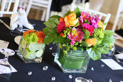 Event Flowers. A beautiful arrangement of flowers on table at reception Royalty Free Stock Photography