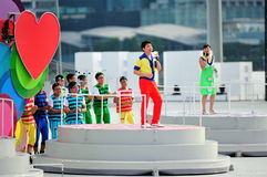 Event host Sebastian Tan performing during National Day Parade (NDP) Rehearsal 2013 Royalty Free Stock Image