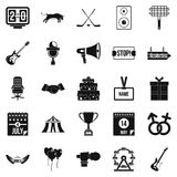 Event icons set, simple style Royalty Free Stock Photography
