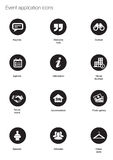 Event icons. White silhouette event application icons in black buttons on white background Stock Image