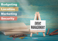 Event management, business and strategic concept. notice board by the books and money, and notifications.  Stock Image
