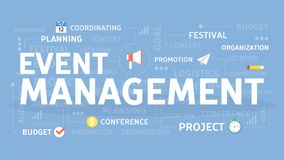 Event management concept. Event management concept illustration. Idea of planning and organisation Royalty Free Stock Image