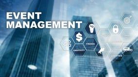 Event management Concept. Event management flowchart. Event management related items. Mixed media business. Event management Concept. Event management flowchart royalty free illustration