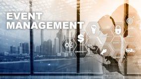 Event management Concept. Event management flowchart. Event management related items. Mixed media business. Event management Concept. Event management flowchart stock photography