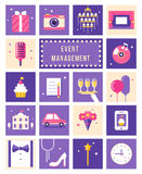 Event Management , Party and Celebration Flat Style Icons Set. Event Management , Party and Celebration Flat Style Vector Icons Set stock illustration