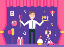 Event Manager on Stage Surrounded by Event and Party Objects. Event Management and Event Agency Illustration. Event Manager on Stage Surrounded by Event and royalty free illustration