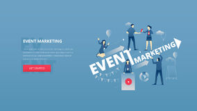 Event marketing hero banner. Vector illustrative hero banner of event marketing. Marketing hero website header with men and women business characters around Royalty Free Stock Photography