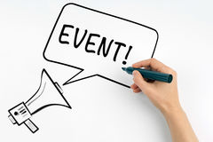 Event. Megaphone and text on a white background Royalty Free Stock Photo