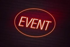 Event neon sign on a club Royalty Free Stock Photo
