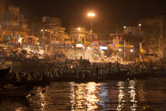 Event of Night Puja. Ghats at the holy river of Ganga in Varanasi, Uttar Pradesh, India Stock Images