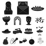 Event Organisation black icons in set collection for design.Celebration and Attributes vector symbol stock web. Event Organisation black icons in set collection Stock Photography
