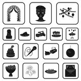 Event Organisation black icons in set collection for design.Celebration and Attributes vector symbol stock web. Event Organisation black icons in set collection Stock Photo