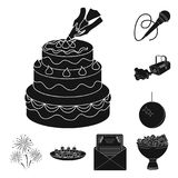 Event Organisation black icons in set collection for design.Celebration and Attributes vector symbol stock web. Event Organisation black icons in set collection Royalty Free Stock Images