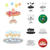 Event Organisation cartoon,black,flat,monochrome,outline icons in set collection for design.Celebration and Attributes. Vector symbol stock  illustration Royalty Free Stock Images