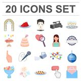 Event Organisation cartoon icons in set collection for design.Celebration and Attributes vector symbol stock web. Event Organisation cartoon icons in set Stock Photos