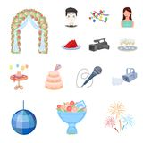 Event Organisation cartoon icons in set collection for design.Celebration and Attributes vector symbol stock web. Event Organisation cartoon icons in set Stock Images