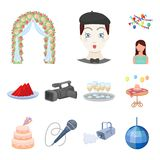 Event Organisation cartoon icons in set collection for design.Celebration and Attributes vector symbol stock web. Event Organisation cartoon icons in set Vector Illustration