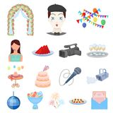 Event Organisation cartoon icons in set collection. For design.Celebration and Attributes vector symbol stock  illustration Stock Photo