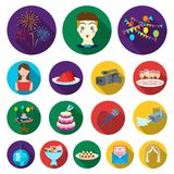 Event Organisation flat icons in set collection for design.Celebration and Attributes vector symbol stock web. Event Organisation flat icons in set collection Royalty Free Stock Photo