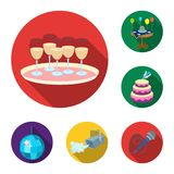 Event Organisation flat icons in set collection for design.Celebration and Attributes vector symbol stock web. Event Organisation flat icons in set collection Stock Photos