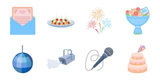 Event Organisation icons in set collection for design. Event Organisation icons in set collection for design.Celebration and Attributes vector symbol stock Royalty Free Stock Image