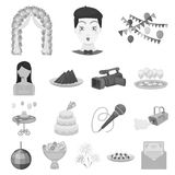 Event Organisation monochrome icons in set collection for design.Celebration and Attributes vector symbol stock web. Event Organisation monochrome icons in set Stock Images