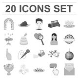 Event Organisation monochrome icons in set collection for design.Celebration and Attributes vector symbol stock web. Event Organisation monochrome icons in set Royalty Free Stock Image