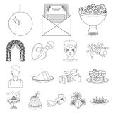 Event Organisation outline icons in set collection for design.Celebration and Attributes vector symbol stock web. Event Organisation outline icons in set Royalty Free Stock Photo