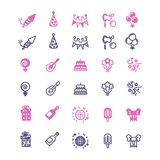 Event, party, birthday, festive icons set. In linear style. Vector illustration Stock Photo