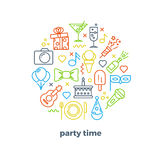 Event, party, entertainment, carnival festive outline vector icons Royalty Free Stock Photography