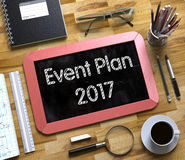 Event Plan 2017 on Small Chalkboard. 3D. Event Plan 2017 Handwritten on Small Chalkboard. Red Small Chalkboard with Handwritten Business Concept - Event Plan Stock Image