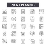 Event planner line icons for web and mobile design. Editable stroke signs. Event planner  outline concept illustrations vector illustration