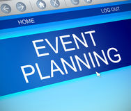 Event planning concept. 3d Illustration depicting a computer screen capture with an event planning concept royalty free illustration