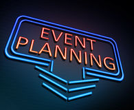 Event planning concept. 3d Illustration depicting an illuminated neon sign with an event planning concept stock illustration