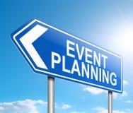 Event planning concept. 3d Illustration depicting a sign with an event planning concept royalty free illustration