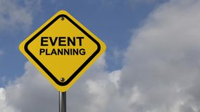 Event planning. A traffic sign with the text 'event planning' on cloudy sky background stock video
