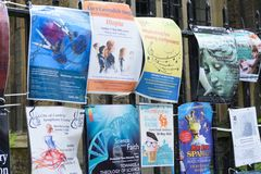 Event  Posters on railings cambridge UK. Cambridge England, United Kingdom -May 20, 2016: Event  Posters on railings cambridge UK Royalty Free Stock Photography