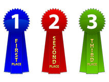 Event Ribbons / EPS. Vector illustrations of a first, second and third place event ribbons. Available in EPS Stock Images