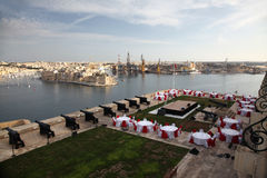 Event at the Saluting battery. The Saluting Battery has a fine view over Grand Harbour Malta Stock Photography