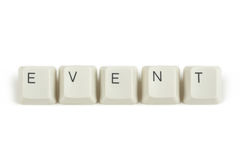 Event from scattered keyboard keys on white Stock Photo