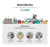 Event service flat line web graphics Royalty Free Stock Images