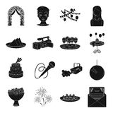 Event service set icons in black style. Big collection of event service vector symbol stock illustration Royalty Free Stock Image