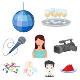 Event service set icons in cartoon style. Big collection of event service vector symbol stock illustration Stock Photography