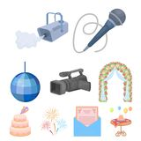 Event service set icons in cartoon style. Big collection of event service vector symbol stock illustration. Event service set icons in cartoon design. Big Royalty Free Stock Images